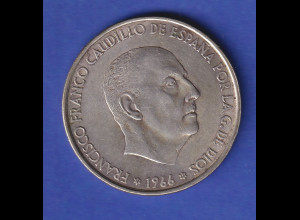 Silbermünze Spanien 1966 General Franco 100 Pesetas 19gAg800