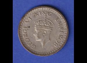 Indien Silbermünze König Georg VI. 1/2 Rupie 1942 5,8grAg500
