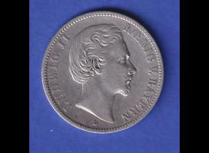 Dt. Kaiserreich Bayern 2-Mark Silbermünze König Ludwig II. 1876 D