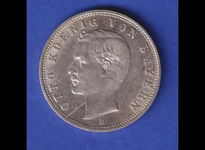Dt. Kaiserreich Bayern 2-Mark Silbermünze König Otto 1905 D