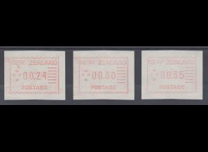 Neuseeland Frama-ATM 1. Ausgabe 1984, Satz 3 Werte 24-30-35 auf z-Papier