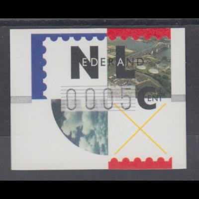 Niederlande ATM Flusslandschaft, schwarzer Typendruck FRAMA, Mi.-Nr. 2.1