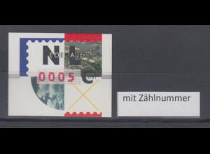 Niederlande ATM Flusslandschaft, roter Nadeldruck NAGLER, Mi.-Nr. 2.2 mit Zählnr