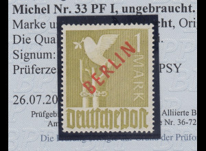Berlin 1949 Rotaufdruck 1 Mark mit sehr seltenem PLF waager. Strich oben am Rand
