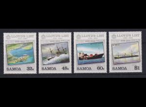 Samoa I Sisifo 1984 Mi.-Nr. 540-543 Lloyd's List postfrisch ** / MNH Schiffe