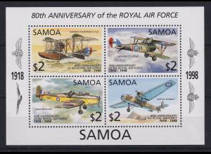Samoa I Sisifo 1998 Mi.-Nr. Block 64 postfrisch ** / MNH Flugzeuge Air Force