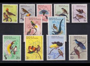 Papua Neu Guinea 1964/65 Einheimische Vögel Satz Mi.-Nr. 62-72 **