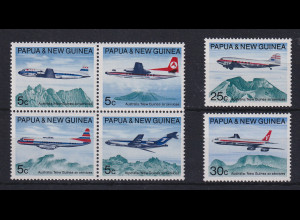 Papua Neu Guinea 1970 Passagier-Flugzeuge Satz Mi.-Nr. 179-184 **