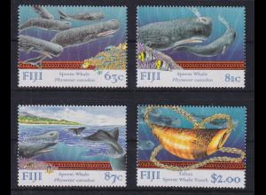 Fiji 1998 Mi.-Nr. 851-854 Pottwale postfrisch ** / MNH Schiffe