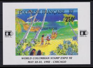 Französisch-Polynesien 1992 Entdeckung Amerikas Mi.-Nr. Block 20 **