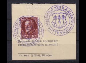 Bayern 1914 Ludwig III. Mi.-Nr. 101 I gestempelt auf Briefstück