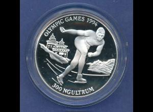 Bhutan Silbermünze 300 Ngultrum Olympische Spiele Lillehammer 1994 Eisschnellauf