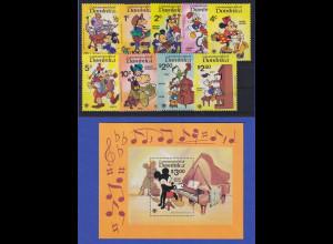 Dominica 1979 Musizierende Walt-Disney-Figuren Mi.-Nr. 657-665 und Block 60 **