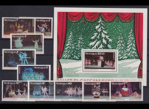 Nicaragua 1977 Tschaikowski Ballett Nussknacker Mi.-Nr.1997-2006 und Block 102**