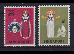 Singapur 1968 Klassische Tanzmasken Mi.-Nr. 91 und 95 postfrisch **