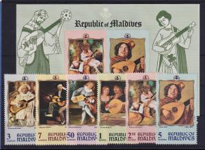 Malediven 1970 Musikdarstellungen auf Gemälden Mi.-Nr. 327-332 und Block 12 **