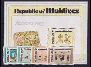 Malediven 1980 Nationalfeiertag - Musiker Mi.-Nr. 858-861 und Block 62 **