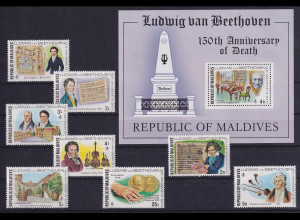 Malediven 1977 Ludwig van Beethoven Mi.-Nr. 689-696 und Block postfrisch **