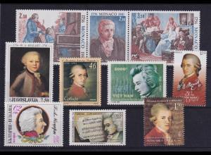 Wolfgang Amadeus Mozart - Lot mit 10 Werten aus aller Welt postfrisch **