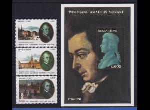 Sierra Leone 2011 W. A. Mozart Mi.-Nr.1729-1731 und Block 179 postfrisch **