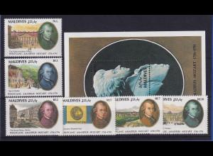 Malediven 1992 W. A. Mozart Mi.-Nr. 1642-1647 und Block postfrisch **