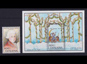 Tansania 1992 W. A. Mozart Mi.-Nr. 1290 und Block 187 postfrisch **