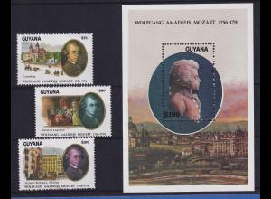 Guyana 1991 W. A. Mozart Mi.-Nr. 3741-3743 und Block 159 postfrisch **