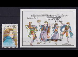 Gambia 2003 W. A. Mozart Mi.-Nr. 1471 und Block 179 postfrisch **