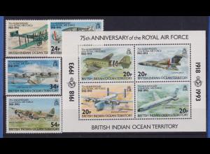 Brit. Ter. Ind. Ozean 1993 75 Jahre Royal Air Force Mi.-Nr. 136-139, Block 4 **