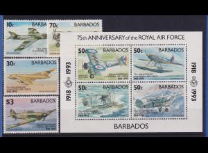 Barbados 1993 75 Jahre Royal Air Force Mi.-Nr. 815-818, Block 29 **