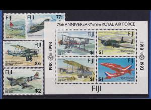 Fidschi-Inseln 1993 75 Jahre Royal Air Force Mi.-Nr. 682-685, Block 10 **