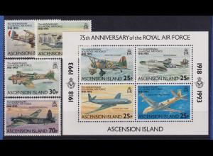 Ascension Island 1993 75 Jahre Royal Air Force Mi.-Nr. 602-605, Block 24 **