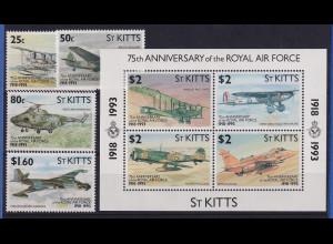 St. Kitts 1993 75 Jahre Royal Air Force Mi.-Nr. 343-346, Block 11 **