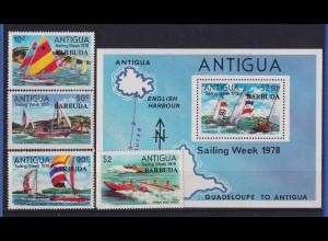 Barbuda 1977 Mi.-Nr. 389-392 und Block 33 postfrisch ** / MNH Segelboote