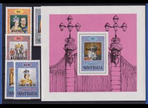 Barbuda 1978 Mi.-Nr. 400-404 und Block 35 postfrisch ** / MNH Queen Elisabeth