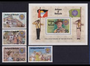 Antigua und Barbuda 1982 Mi.-Nr. 678-681 und Block 64 ** / MNH Pfadfinder