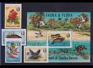 Antigua und Barbuda 1982 Mi.-Nr. 669-672 und Block 62 ** / MNH Flora & Fauna