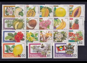 Antigua und Barbuda 1983 Freimarken Mi.-Nr. 719-736 A ** / MNH Früchte
