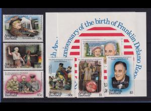 Barbuda 1982 Mi.-Nr. 632-637, Block 70-71 ** / MNH Washington / Roosevelt