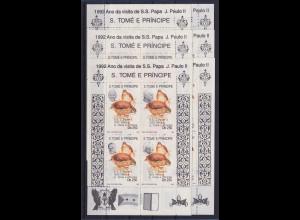 Sao Tome e Principe 1992 Papstbesuch Mi.-Nr. 1324-1329 Kleinbogensatz 6 Klb. **