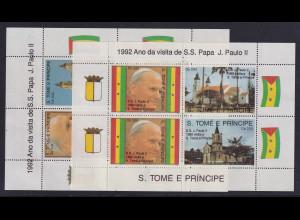 Sao Tome e Principe 1992 Blockausgaben Papstbesuch Mi.-Nr. Block 271 und 272 **