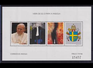 Angola 1992 Blockausgabe Papstbesuch Mi.-Nr. Block 13 postfrisch **