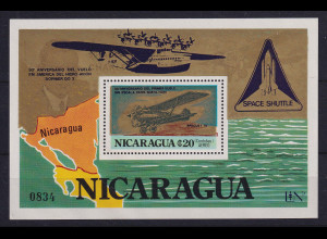 Nicaragua 1980 Blockausgabe Luftfahrt Mi.-Nr. Block 132 b postfrisch **