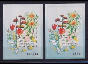 Ungarn 1991 Amerikanische Blumen Mi.-Nr. Block 214 A und B **