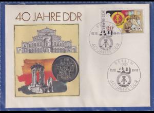 DDR 1989 Numisbrief mit 10-Mark-Gedenkmünze 40 Jahre DDR