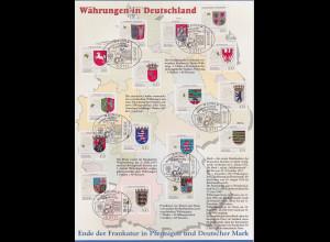 Bundesrepublik 1992-94 Wappen der Länder Satz 16 Werte auf A4-Schmuckblatt