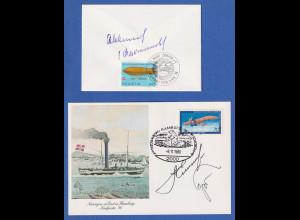 2 Autogrammbelege Sowjetische Kosmonauten Jelissejew, Kowaljonok und Feokstitow