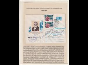 Autogrammbeleg Sowjetische Kosmonauten Gretschko, Schonin, Klimuk und Aksjonow