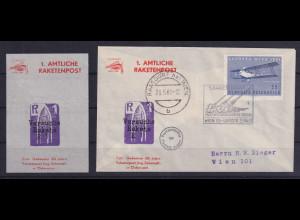 Österreich 1961 Erste Amtliche Raketenpost - Beleg und Souvenir-Vignette LUPOSTA