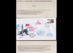 Russland 1997 Raketenpostbrief 40 Jahre Sputnik, 50 Jahre Raketenzentrum Makejew